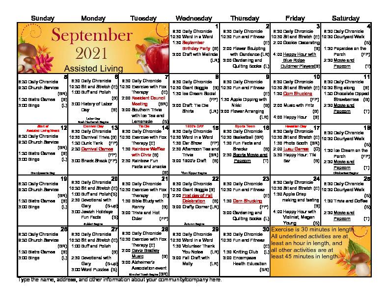 Assisted Living September Calendar